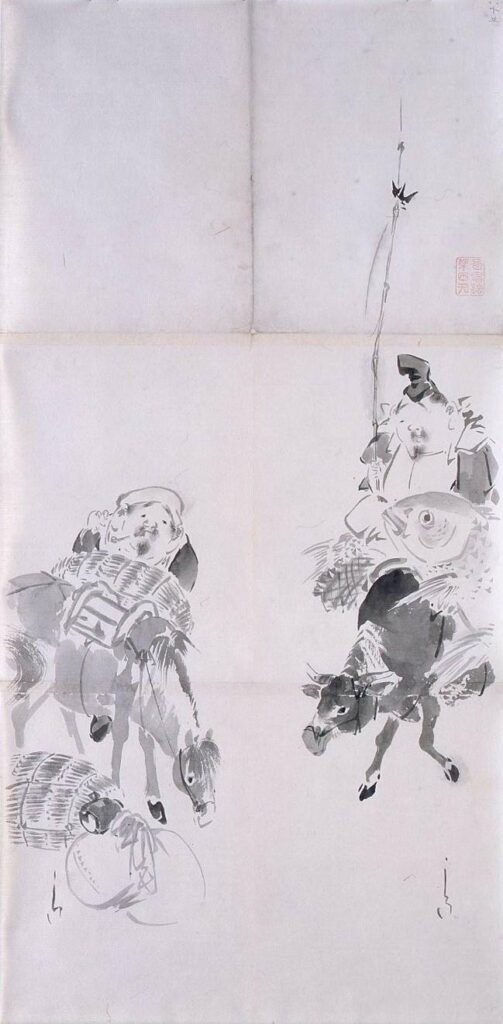 作品画像:粉本 驢馬に乗る恵比寿大黒
