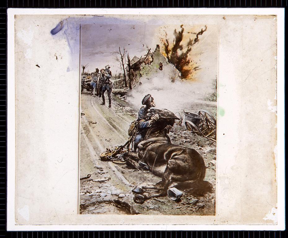 作品画像:兵士と馬のいる戦場(幻燈原板)