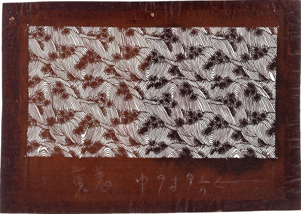 作品画像:長板中形型紙 もみじに滝