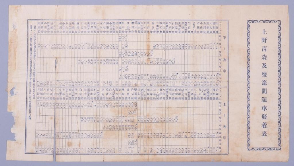 作品画像:上野青森及塩竃間汽車発着表
