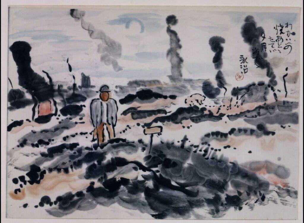 作品画像:関東大地震画:わがいへの焼あとに立てば夕月出でて
