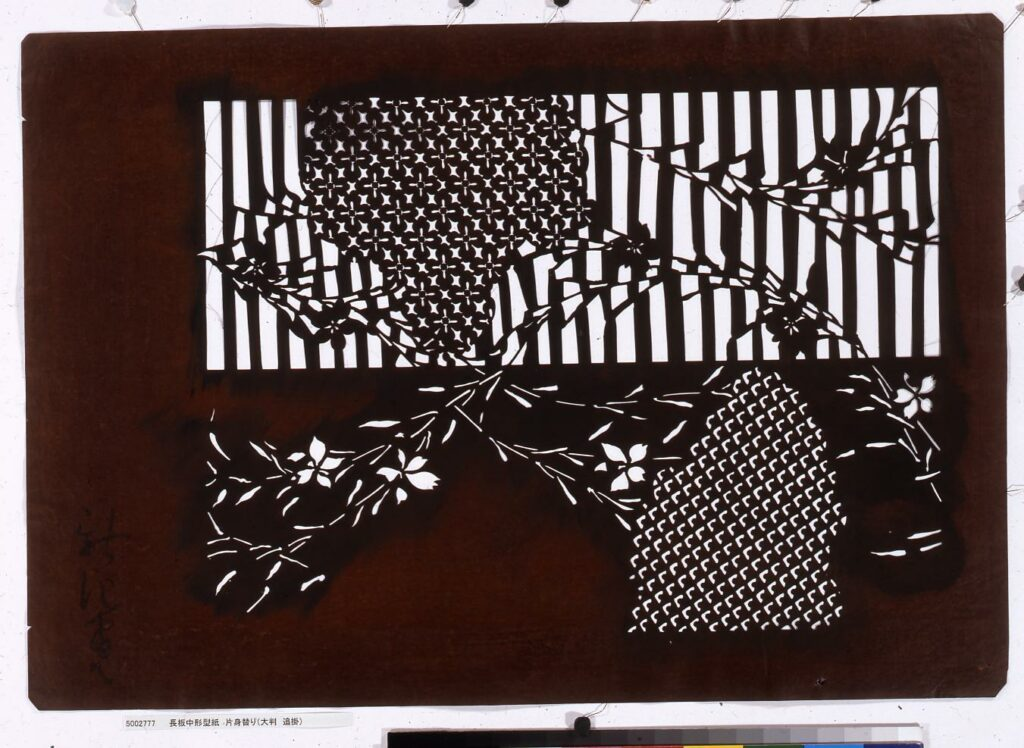作品画像:長板中形型紙 片身替り(大判 追掛)