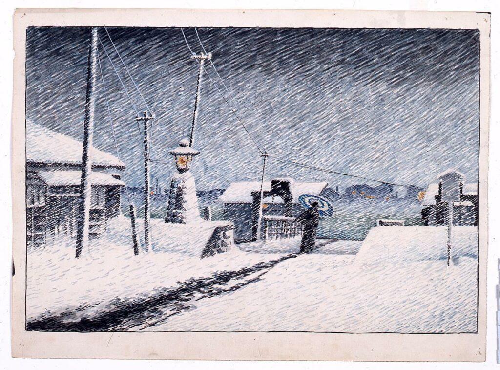 作品画像:東京二十景 月島の雪 原画