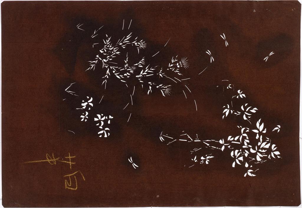作品画像:長板中形型紙 あざみと朝顔(大判 追掛)