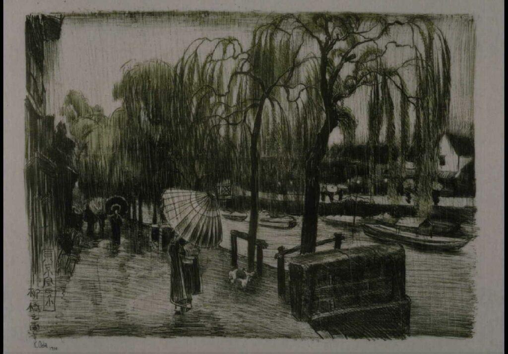 作品画像:東京風景 七 柳橋之雨
