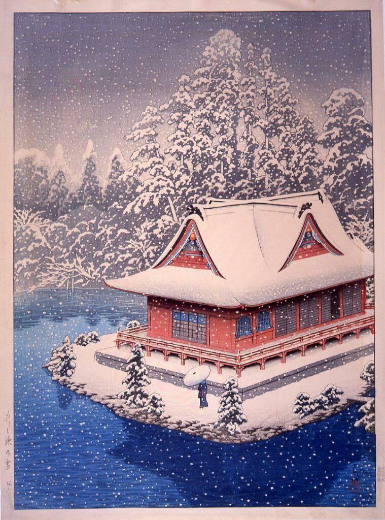 作品画像:井之頭の雪(弁天堂)