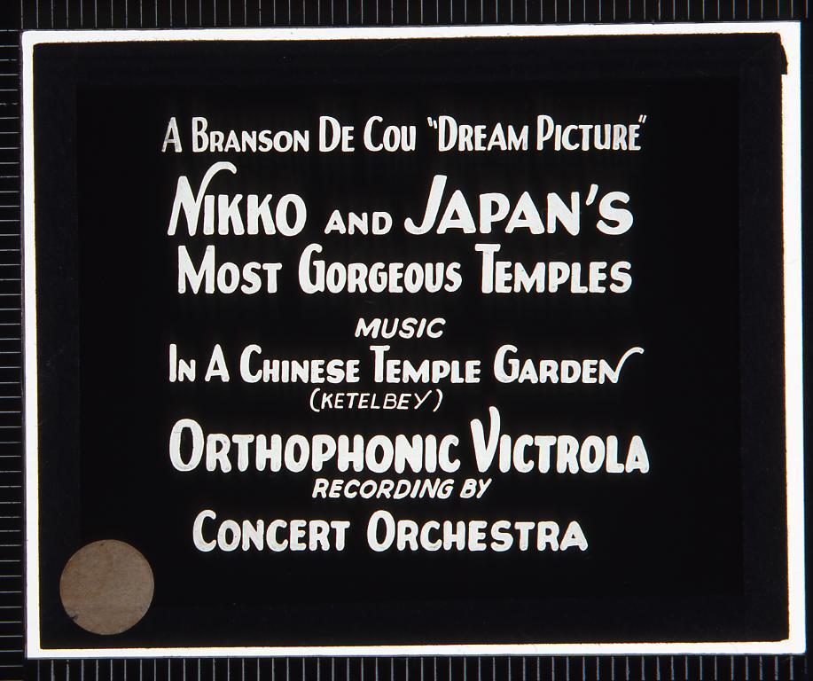 作品画像:字幕 日光と日本の寺(幻燈原板)