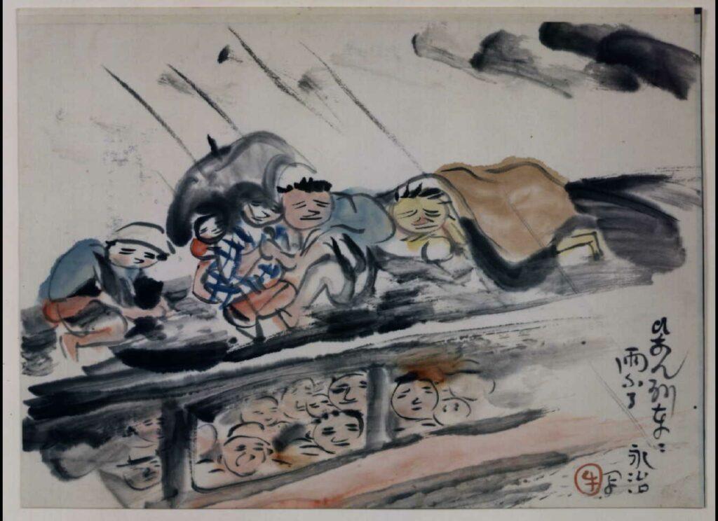 作品画像:関東大地震画:ひなん列車に雨ふる