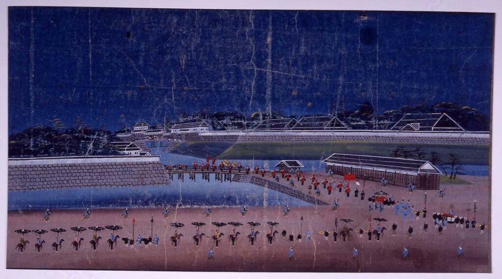 作品画像:泥絵 琉球使節江戸城西の丸登城図