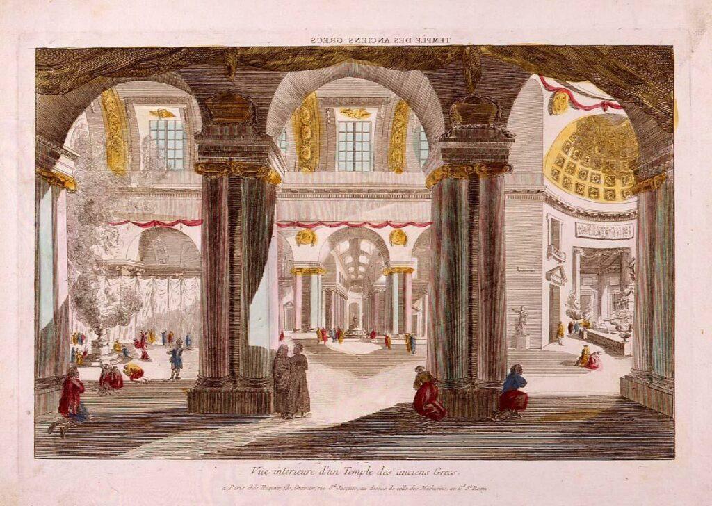 作品画像:眼鏡絵  古代ギリシャ神殿の内部