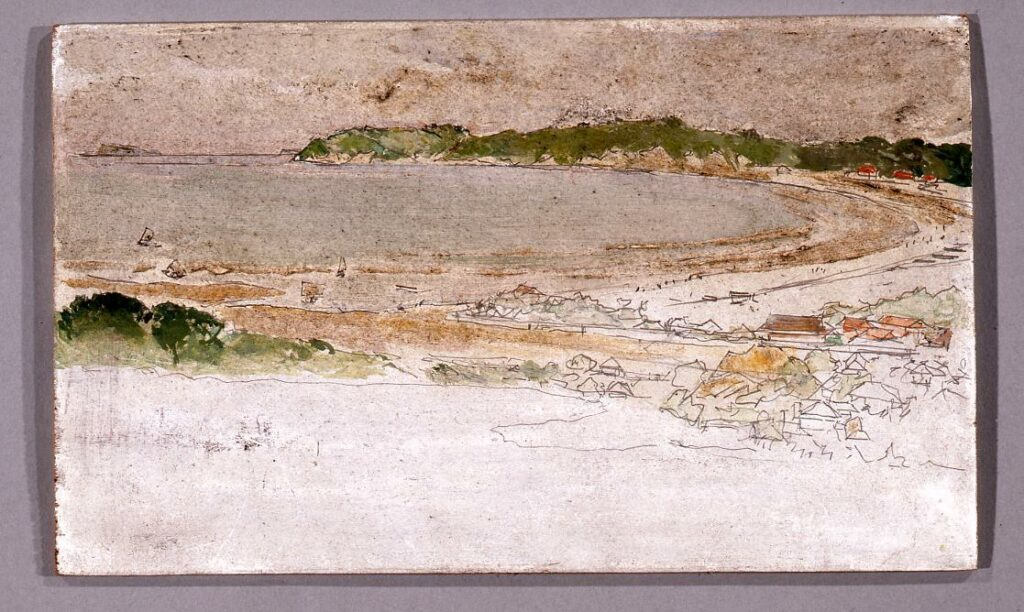 作品画像:風景 「徳川公爵別邸内から見下ろす逗子海岸」