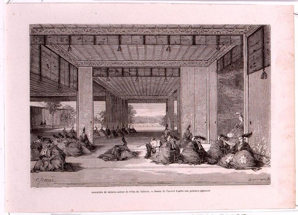 作品画像:アンベール「幕末日本図絵」挿絵 将軍を取り巻く諸大名,武士の身繕い