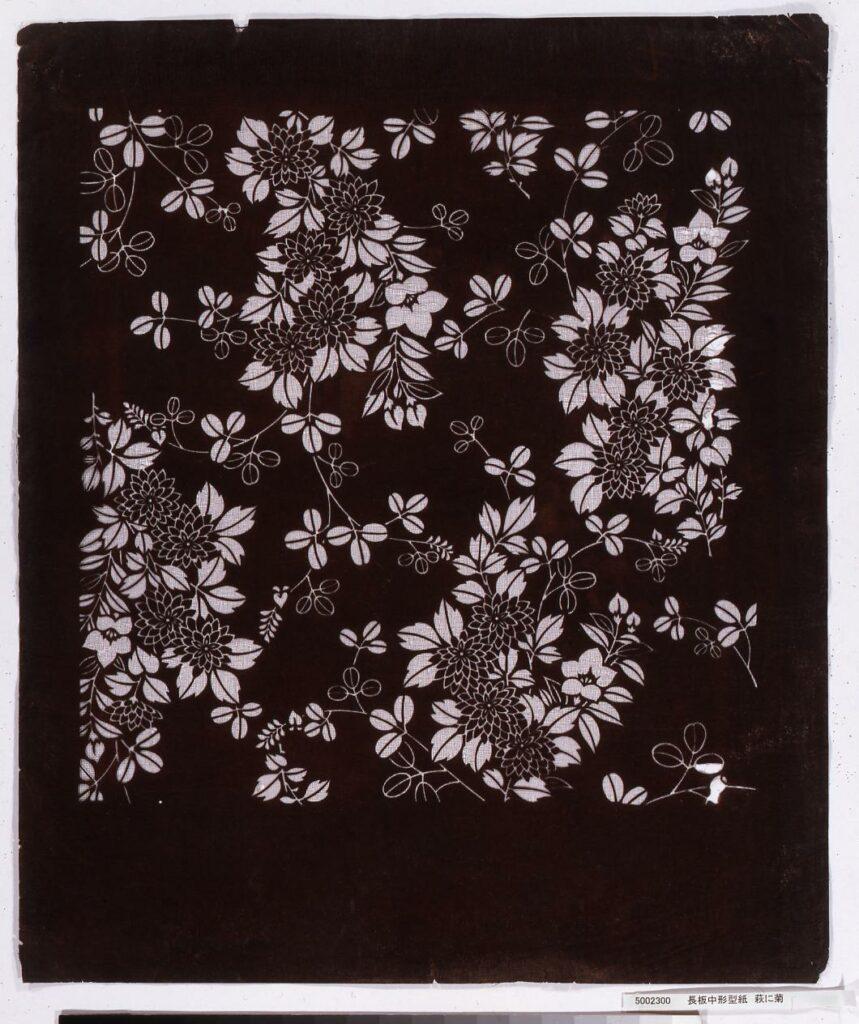 作品画像:長板中形型紙 萩に菊