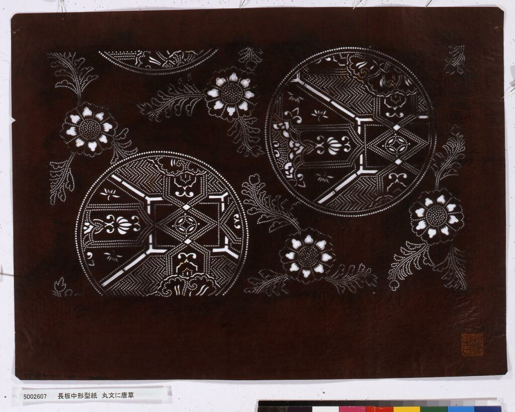 作品画像:長板中形型紙 丸文に唐草