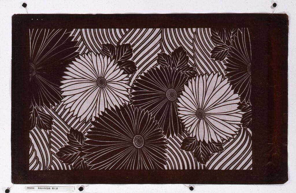 作品画像:長板中形型紙 菊に波