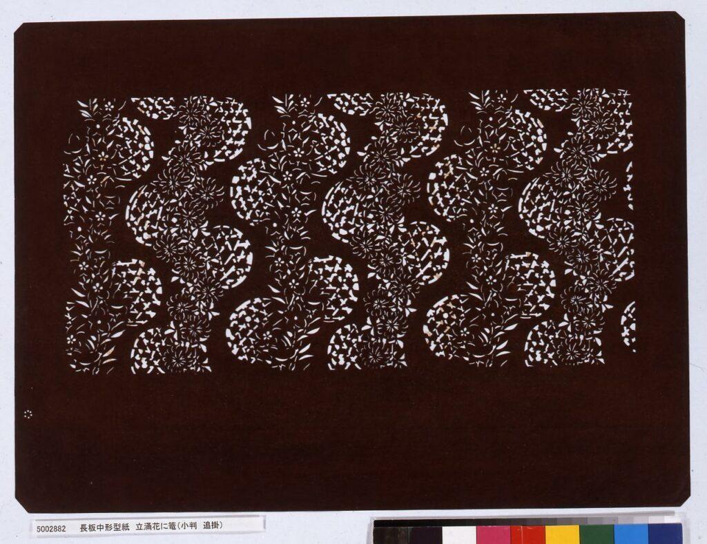 作品画像:長板中形型紙 立涌花に籠(小判 追掛)