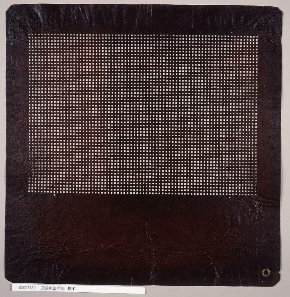 作品画像:長板中形型紙 格子
