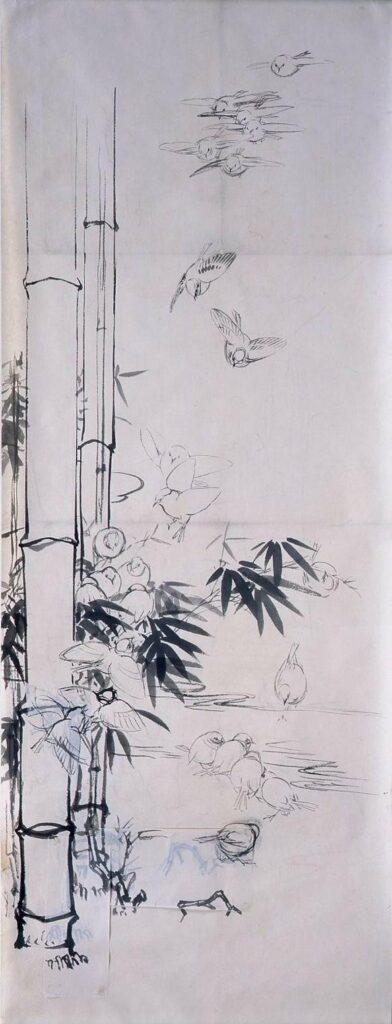 作品画像:粉本 竹林に群雀