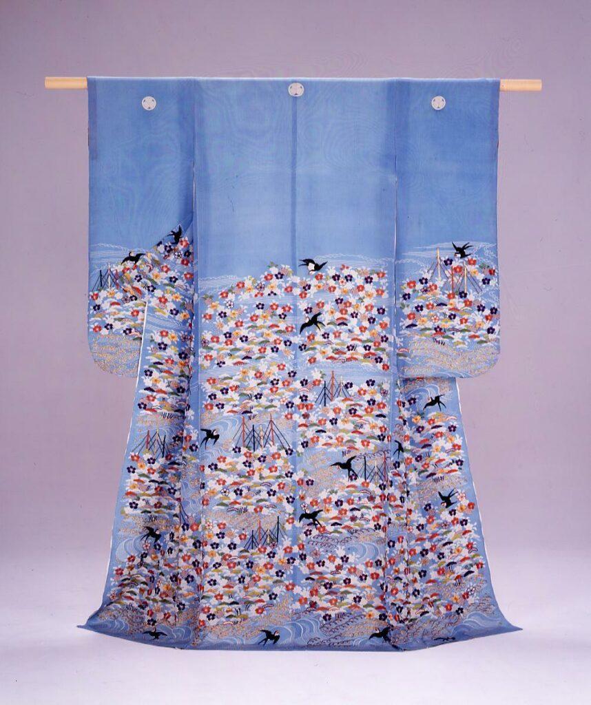 水浅葱絹縮地浜松に桜燕模様染縫振袖