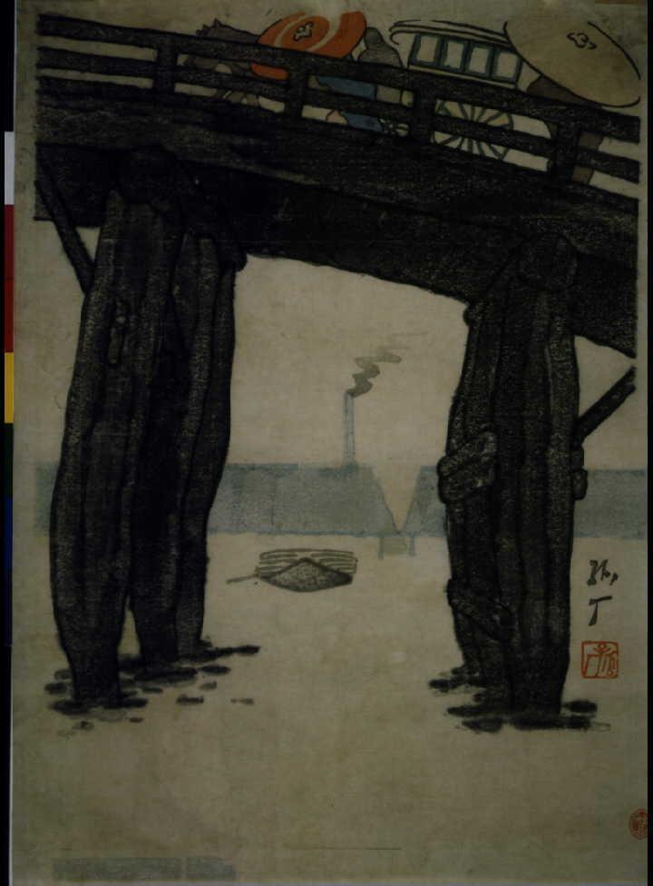作品画像:千住大橋の雨