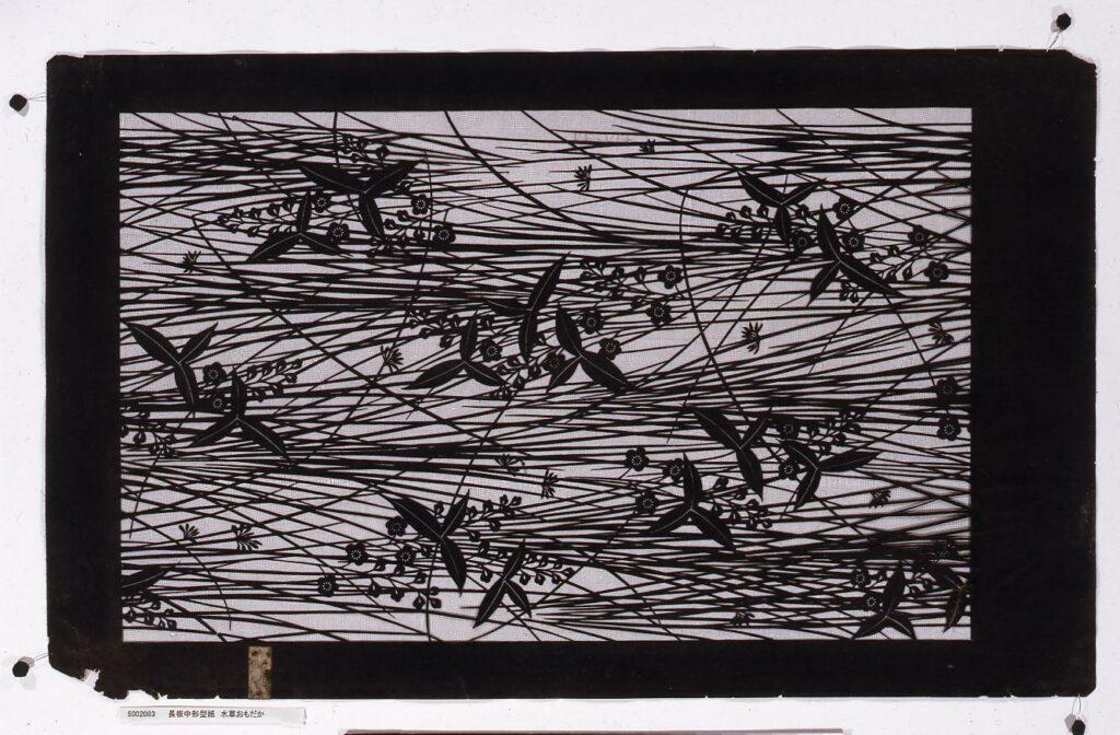 作品画像:長板中形型紙 水草おもだか