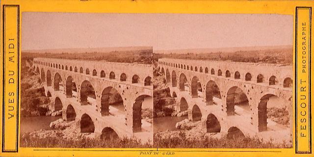 作品画像:外国製ステレオ写真 Vues du Midi(Pont du Gard)南フランス