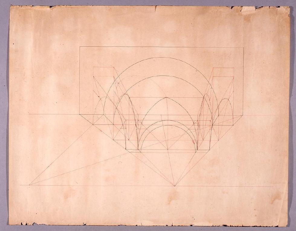 作品画像:図面習作 一点透視図(アーチ)
