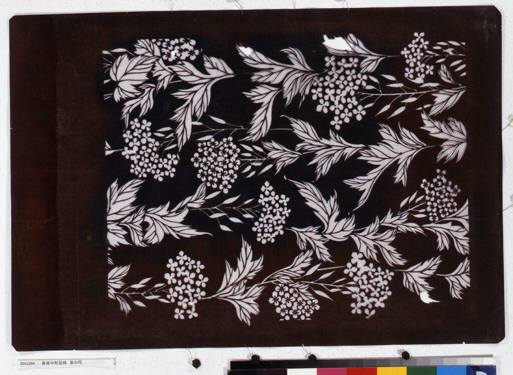 作品画像:長板中形型紙 菜の花