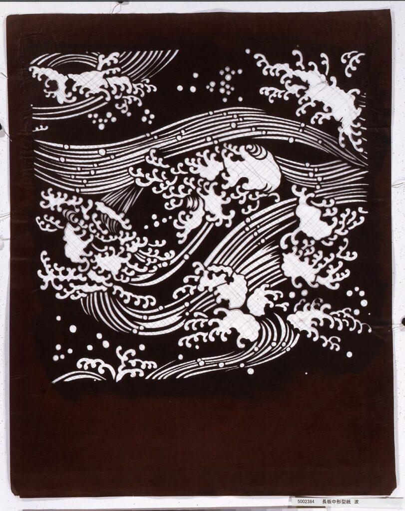 作品画像:長板中形型紙 波