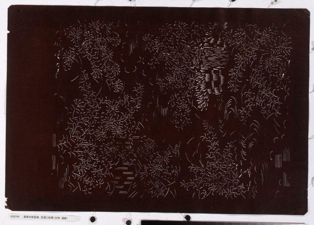 作品画像:長板中形型紙 芝垣に秋草(大判 追掛)