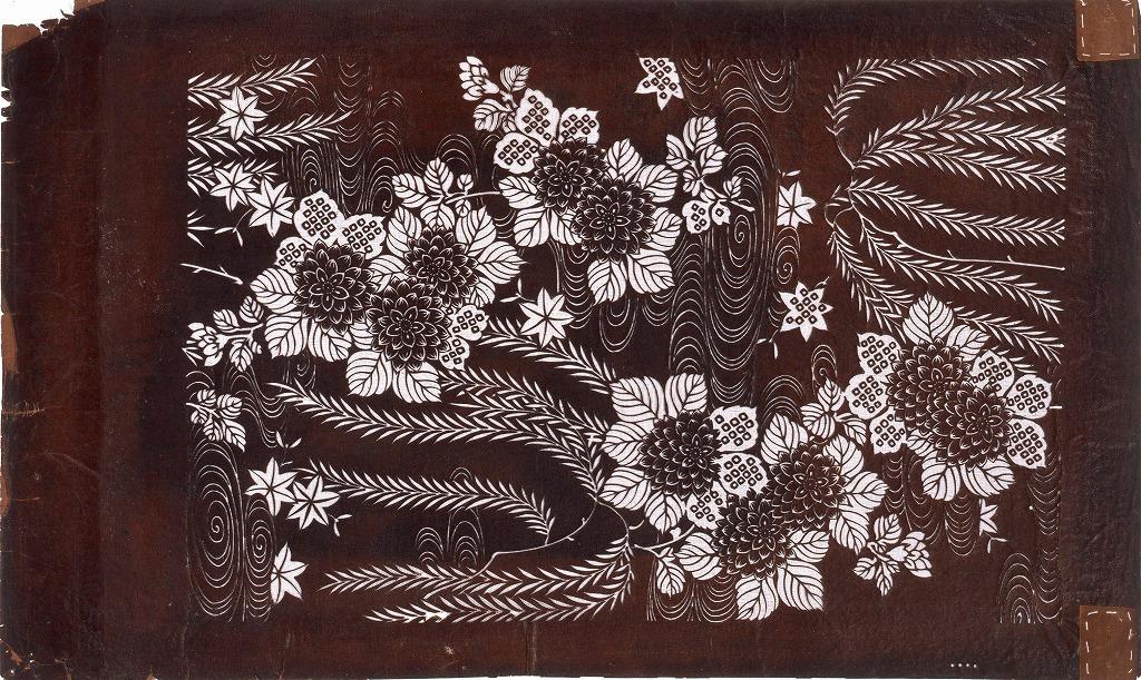 作品画像:長板中形型紙 柳 菊に流水