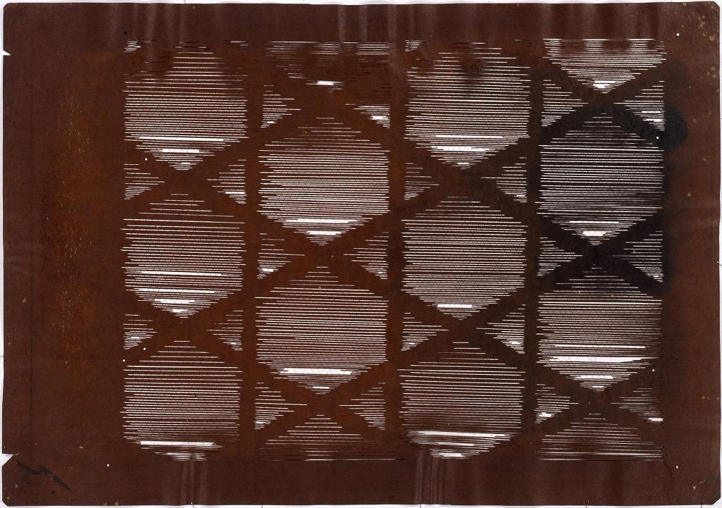 作品画像:長板中形型紙 籠目(大判 追掛)