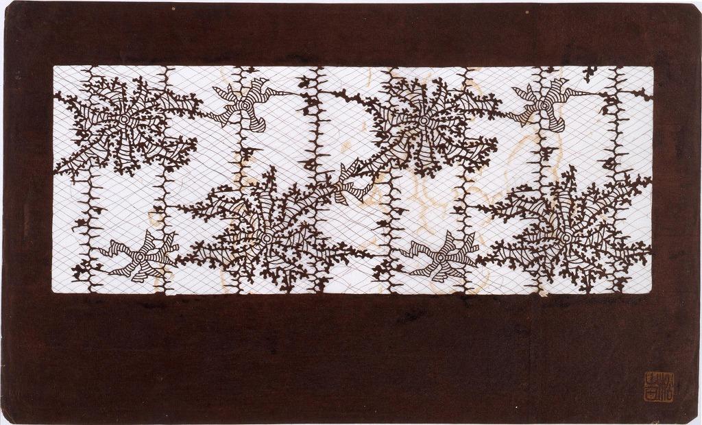 作品画像:長板中形型紙 地白 海草