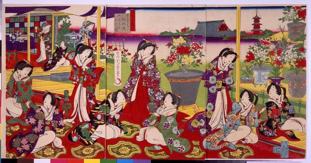作品画像:浅草金龍山 花屋しき牡丹花御遊らんの図