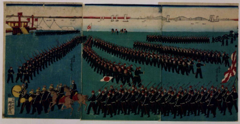 作品画像:明治政府軍調練の図