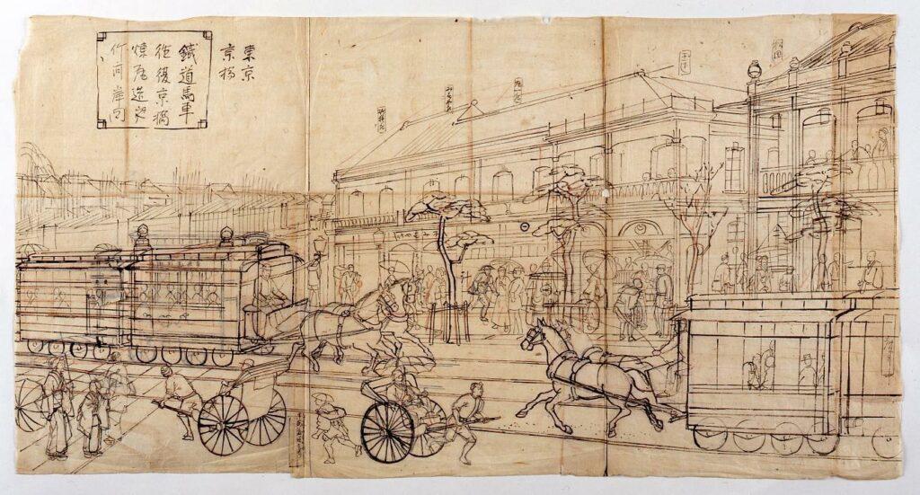 作品画像:鉄道馬車往復京橋煉瓦造之竹河岸図 下絵