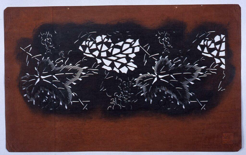 作品画像:長板中形型紙 ぶどう (小判 追掛)