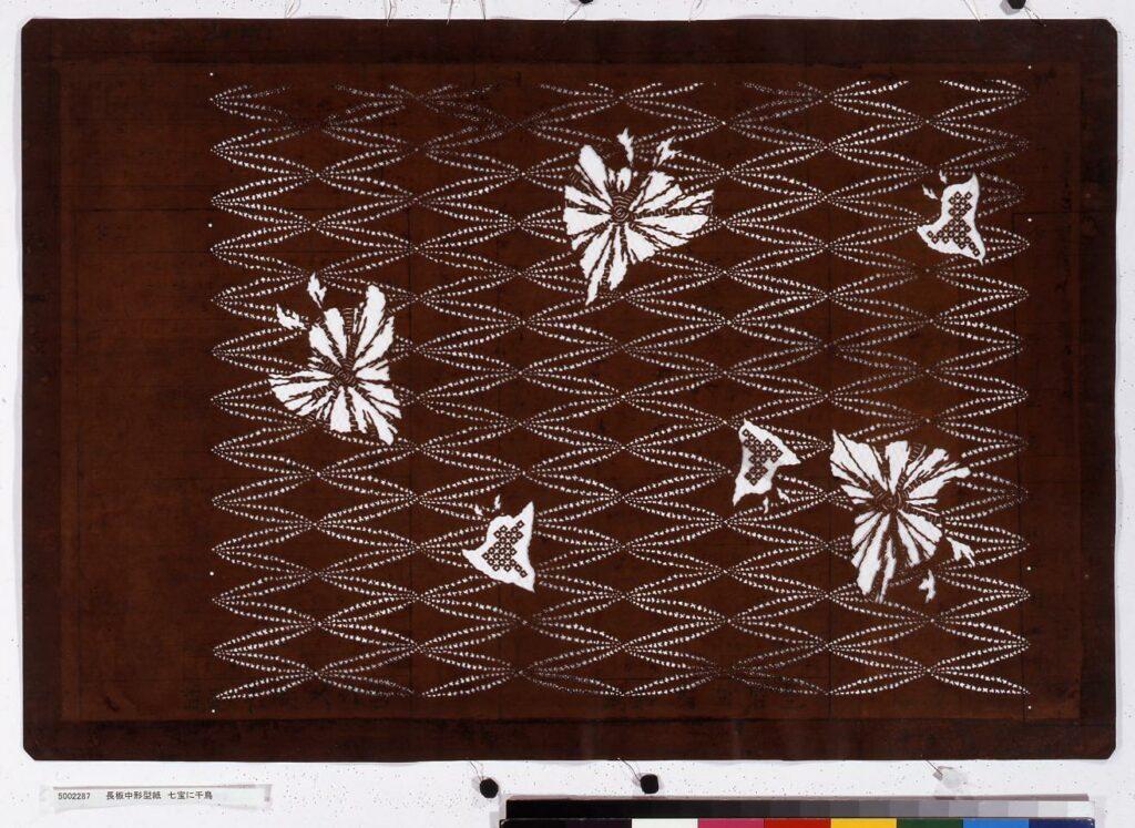 作品画像:長板中形型紙 七宝に千鳥