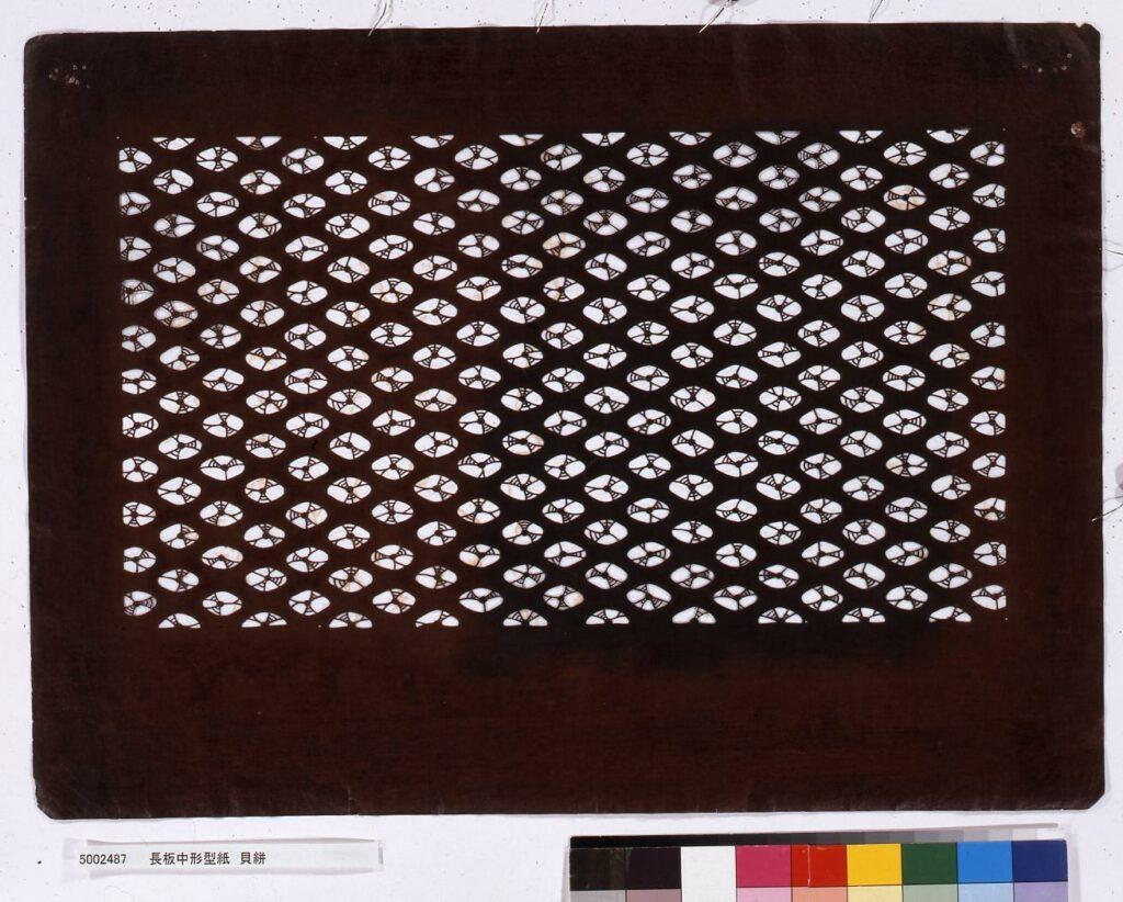 作品画像:長板中形型紙 貝絣