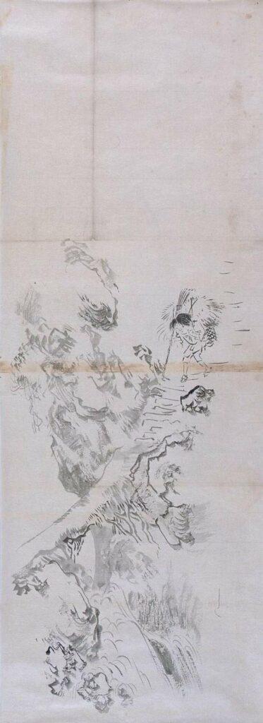 作品画像:粉本 険崖の童子