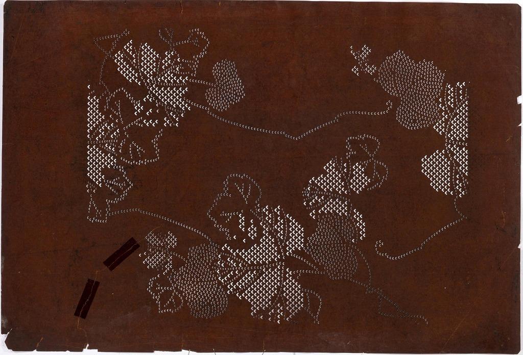 作品画像:長板中形型紙 鹿の子蔦(大判 追掛)