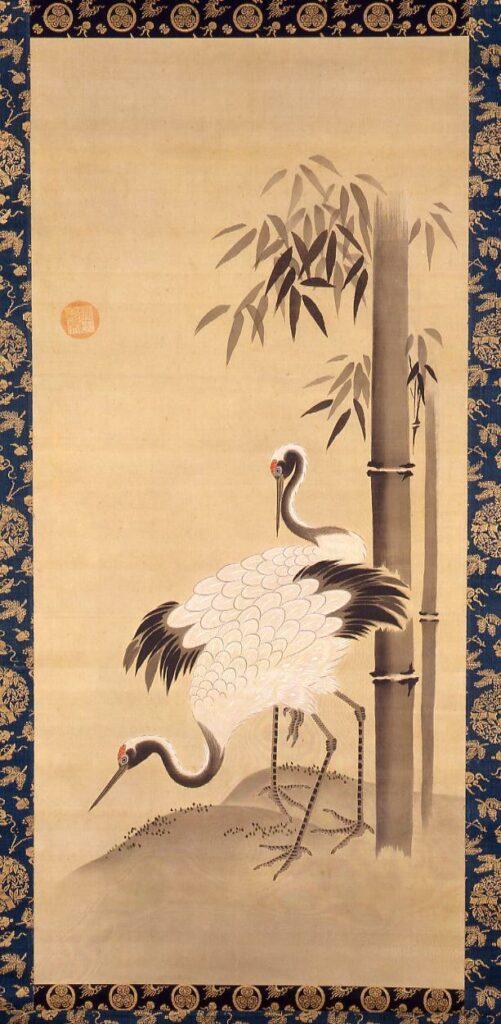 作品画像:竹に双鶴