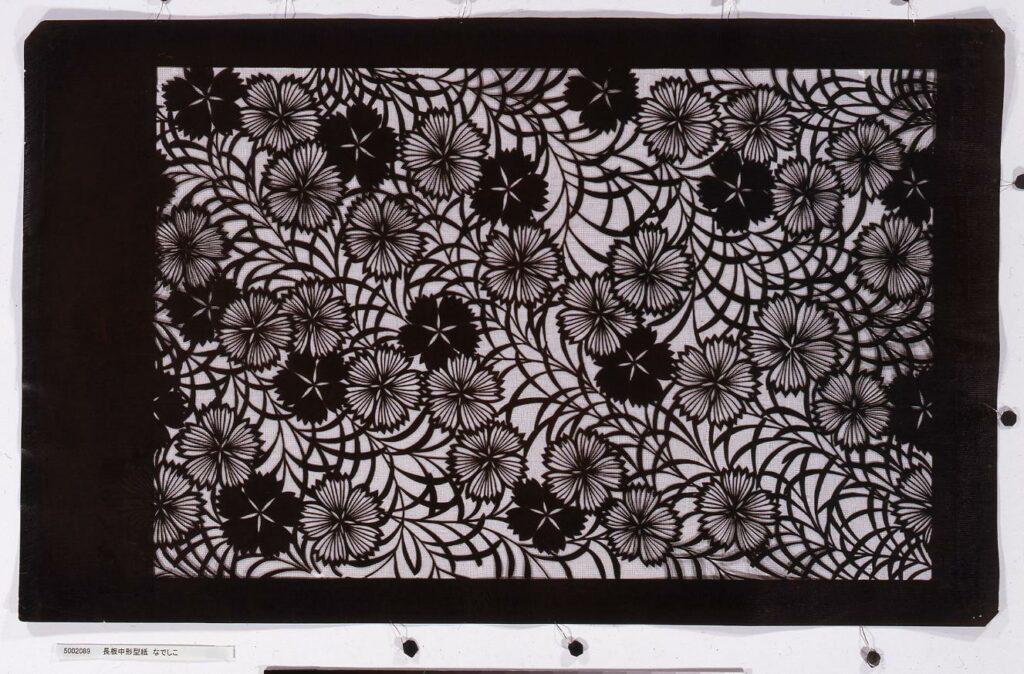 作品画像:長板中形型紙 なでしこ