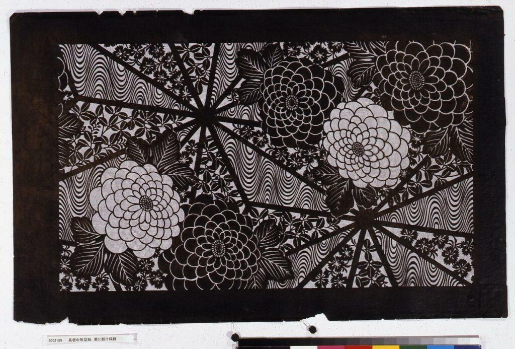 作品画像:長板中形型紙 菊に割付模様