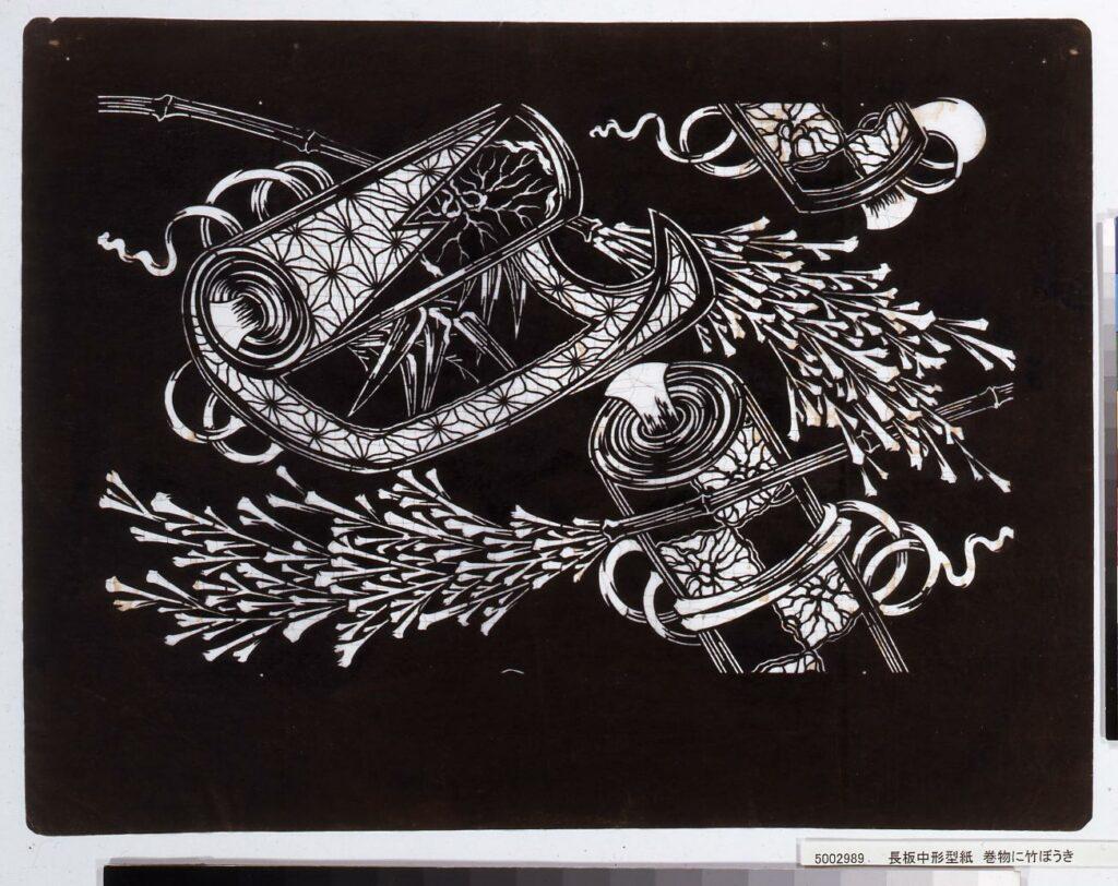 作品画像:長板中形型紙 巻物に竹ぼうき