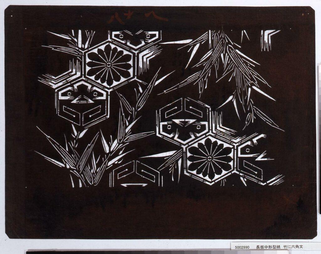 作品画像:長板中形型紙 竹に六角文