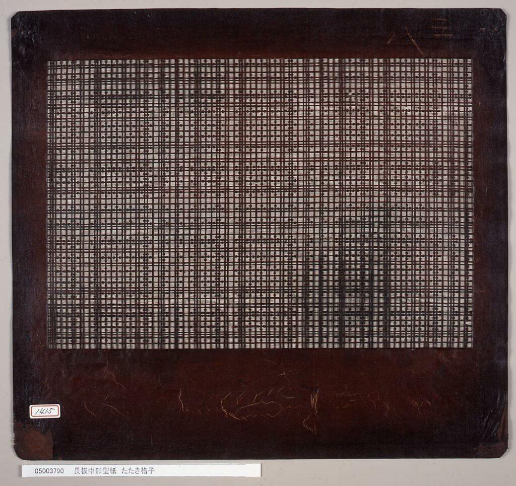 作品画像:長板中形型紙 たたき格子