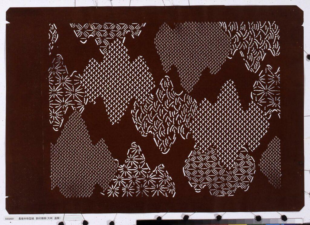作品画像:長板中形型紙 割付模様(大判 追掛)