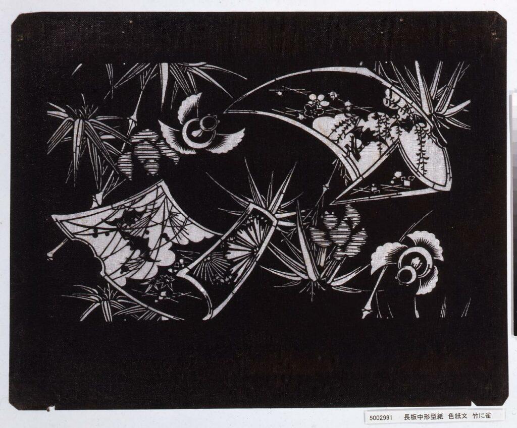 作品画像:長板中形型紙 色紙文 竹に雀