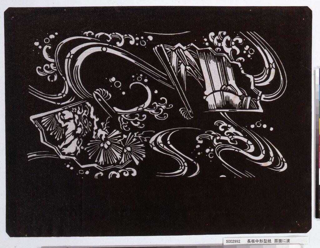 作品画像:長板中形型紙 扇面に波